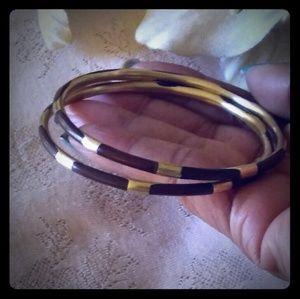 Vintage Slim Enamel & Brass Bangle Bracelets